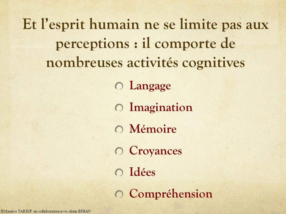 Et l'esprit humain ne se limite pas aux perceptions : il comporte de nombreuses activités cognitives
