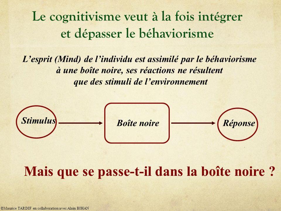 Le cognitivisme veut à la fois intégrer et dépasser le béhaviorisme