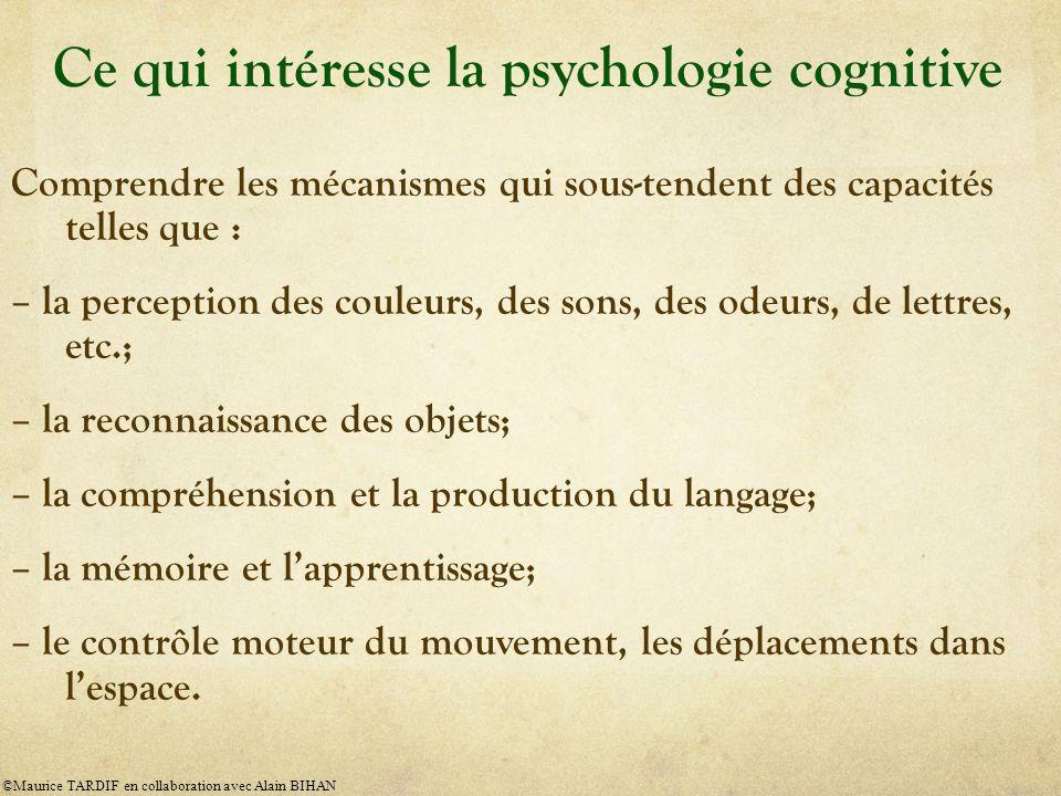 Ce qui intéresse la psychologie cognitive