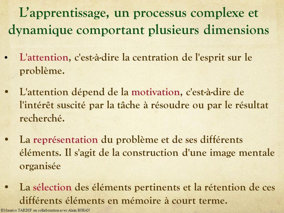 L'apprentissage, un processus complexe et dynamique comportant plusieurs dimensions