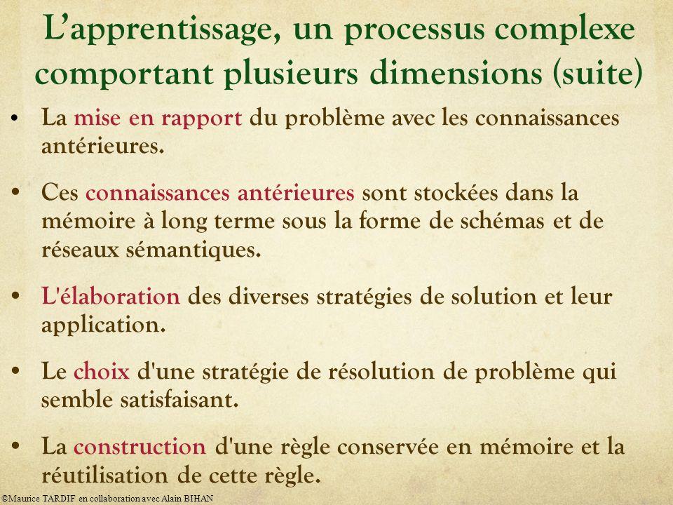 L'apprentissage, un processus complexe comportant plusieurs dimensions (suite)