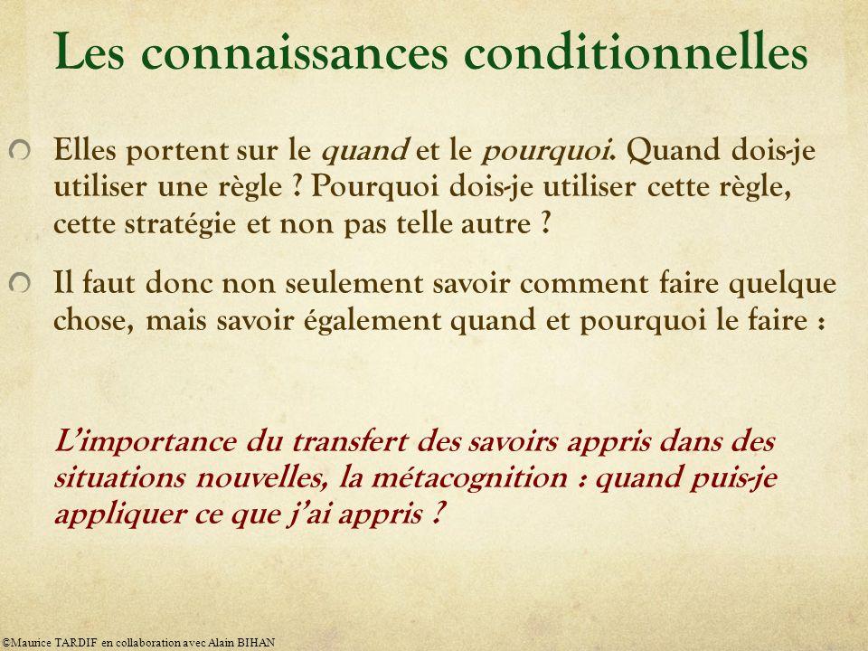 Les connaissances conditionnelles