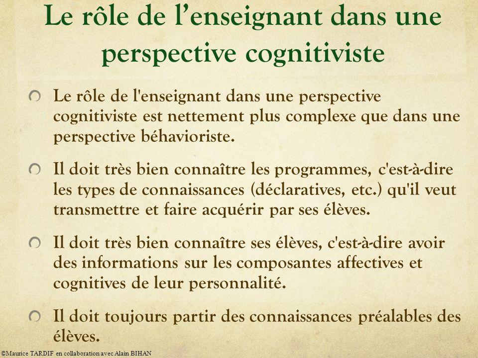 Le rôle de l'enseignant dans une perspective cognitiviste