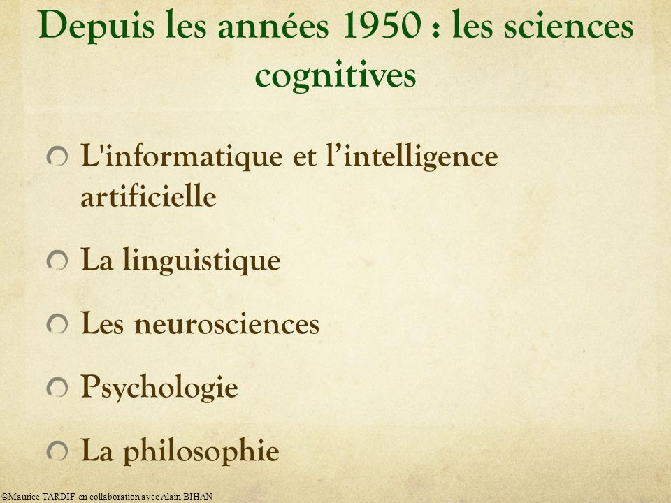 Depuis les années 1950 : les sciences cognitives