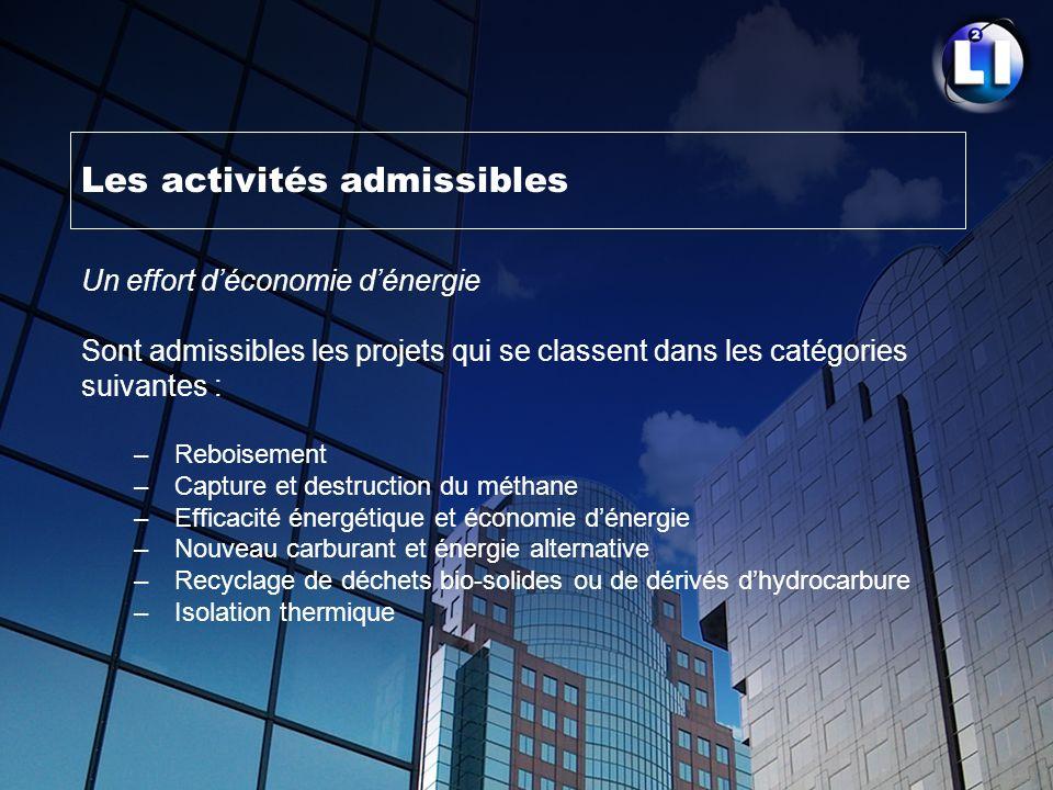 Les activités admissibles