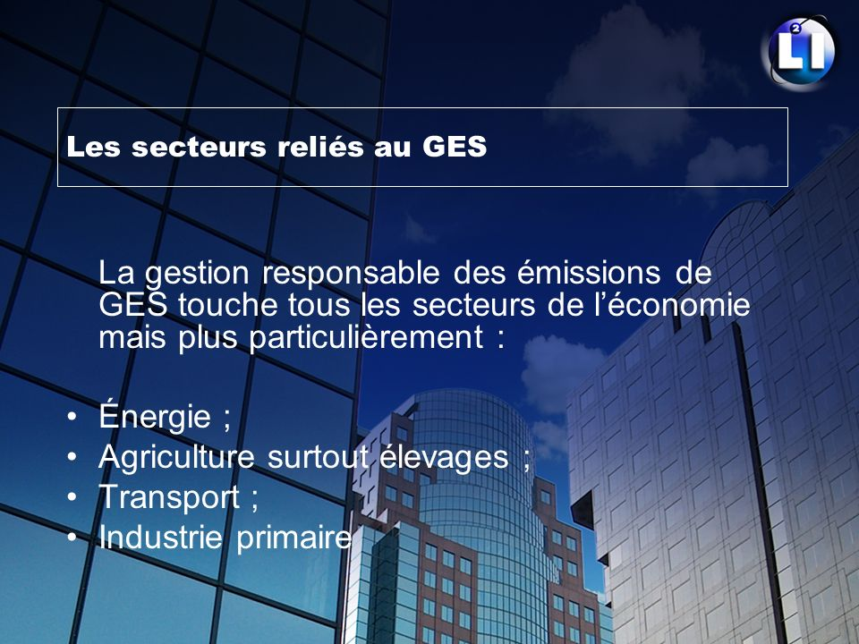 Les secteurs reliés au GES