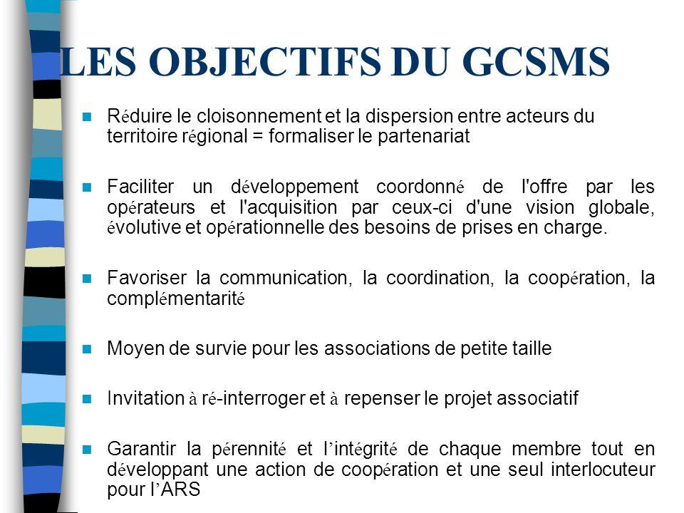 LES OBJECTIFS DU GCSMS Réduire le cloisonnement et la dispersion entre acteurs du territoire régional = formaliser le partenariat.