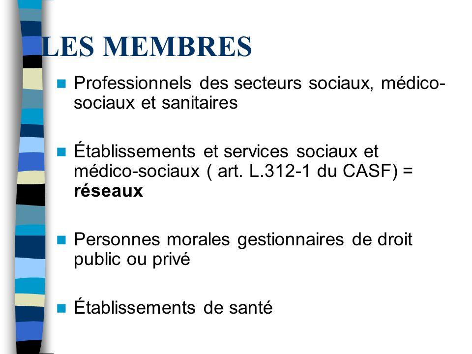 LES MEMBRES Professionnels des secteurs sociaux, médico-sociaux et sanitaires.