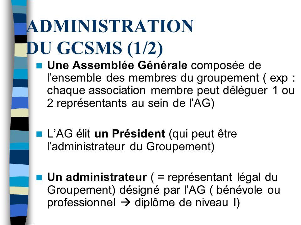 ADMINISTRATION DU GCSMS (1/2)