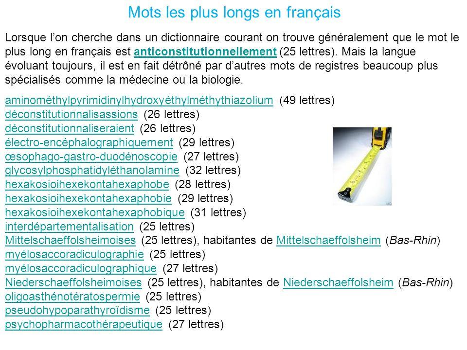 Mots les plus longs en français