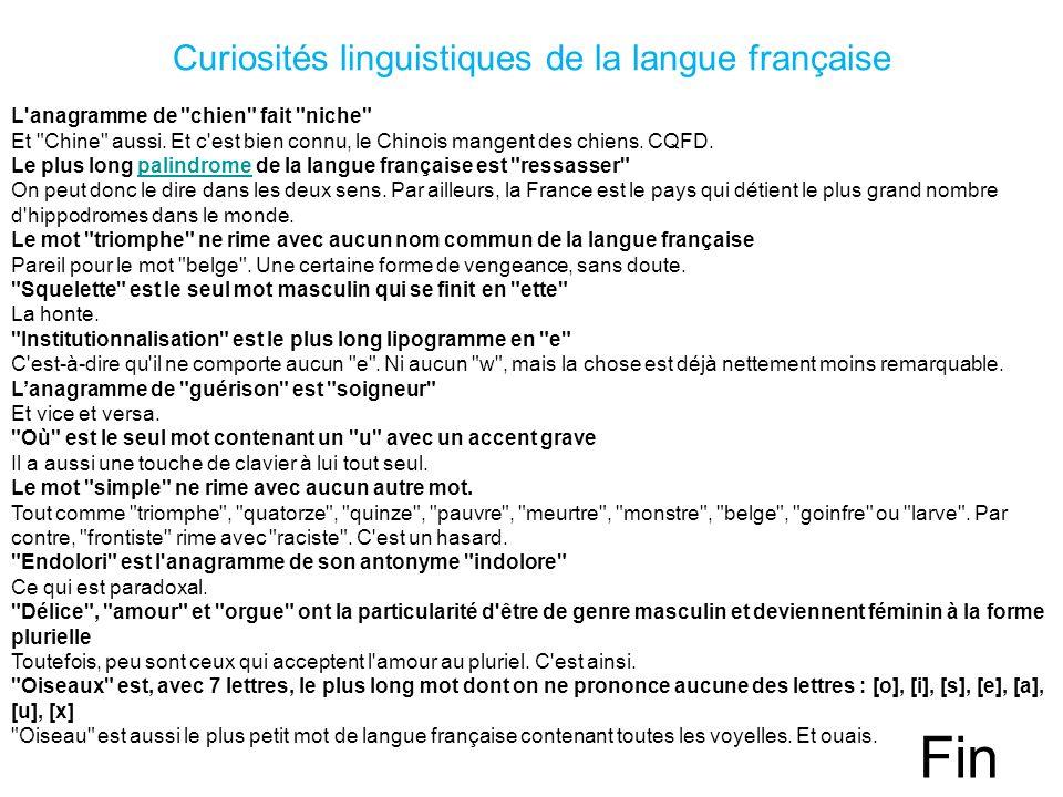 Curiosités linguistiques de la langue française