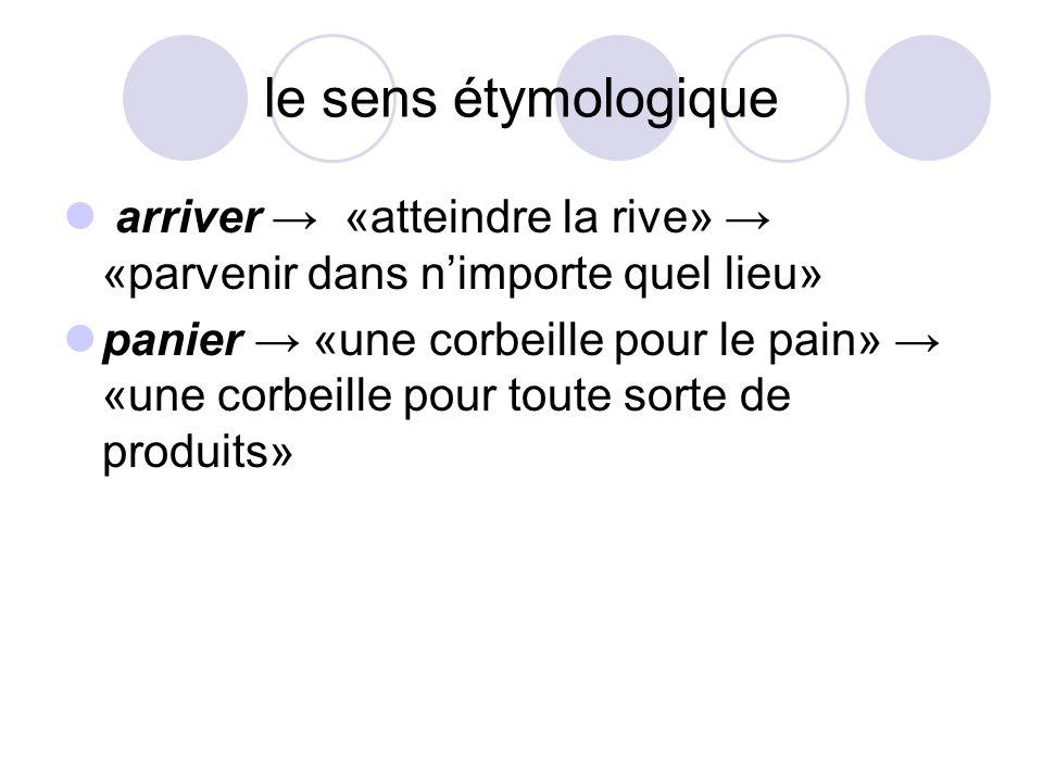 le sens étymologique arriver → «atteindre la rive» → «parvenir dans n'importe quel lieu»