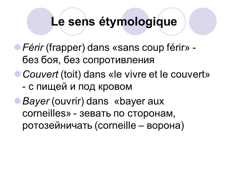 Le sens étymologique Férir (frapper) dans «sans coup férir» - без боя, без сопротивления.