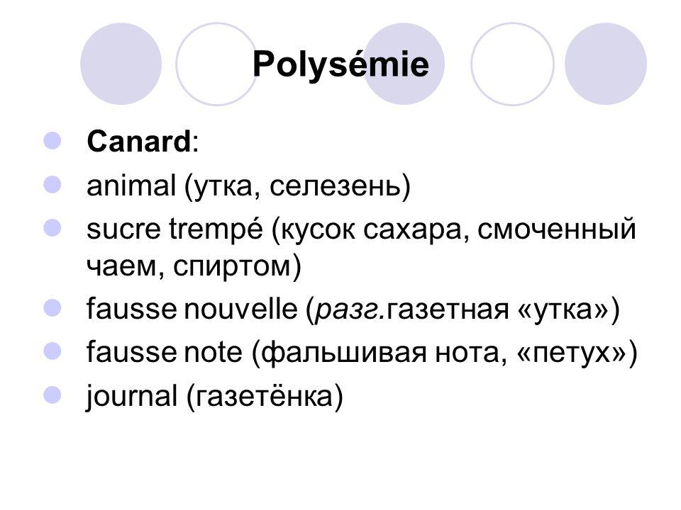 Polysémie Canard: animal (утка, селезень)