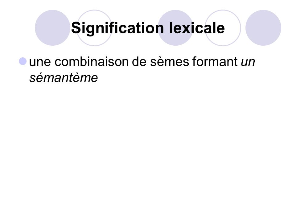 Signification lexicale