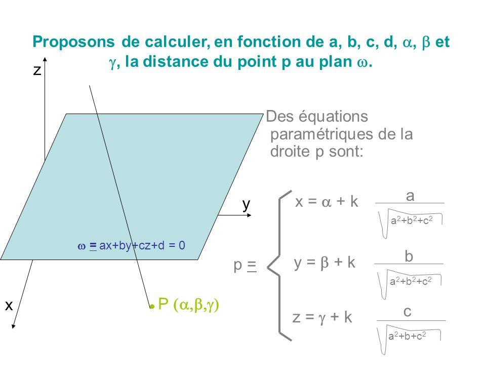 Des équations paramétriques de la droite p sont: