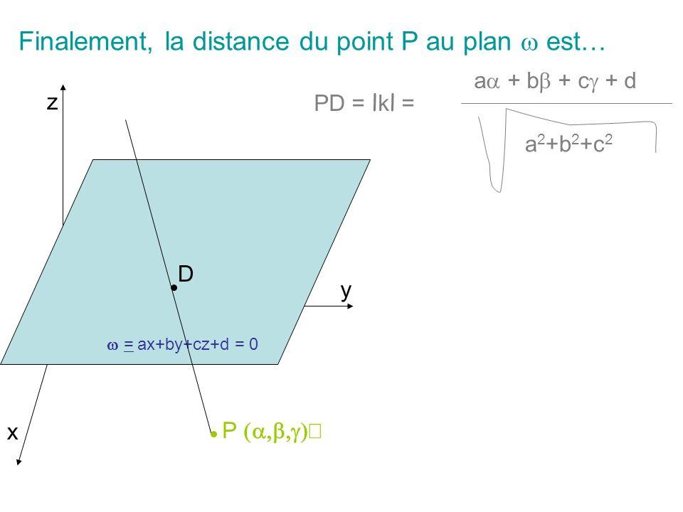 Finalement, la distance du point P au plan  est…
