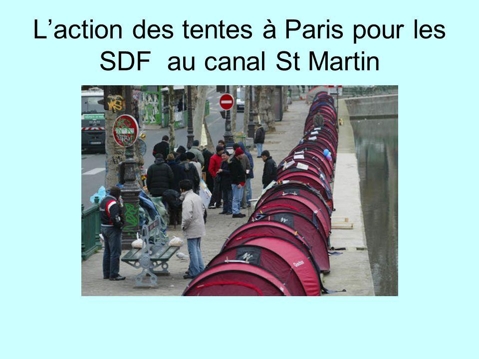 L'action des tentes à Paris pour les SDF au canal St Martin