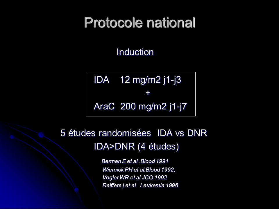 Protocole national Induction IDA 12 mg/m2 j1-j3 + AraC 200 mg/m2 j1-j7