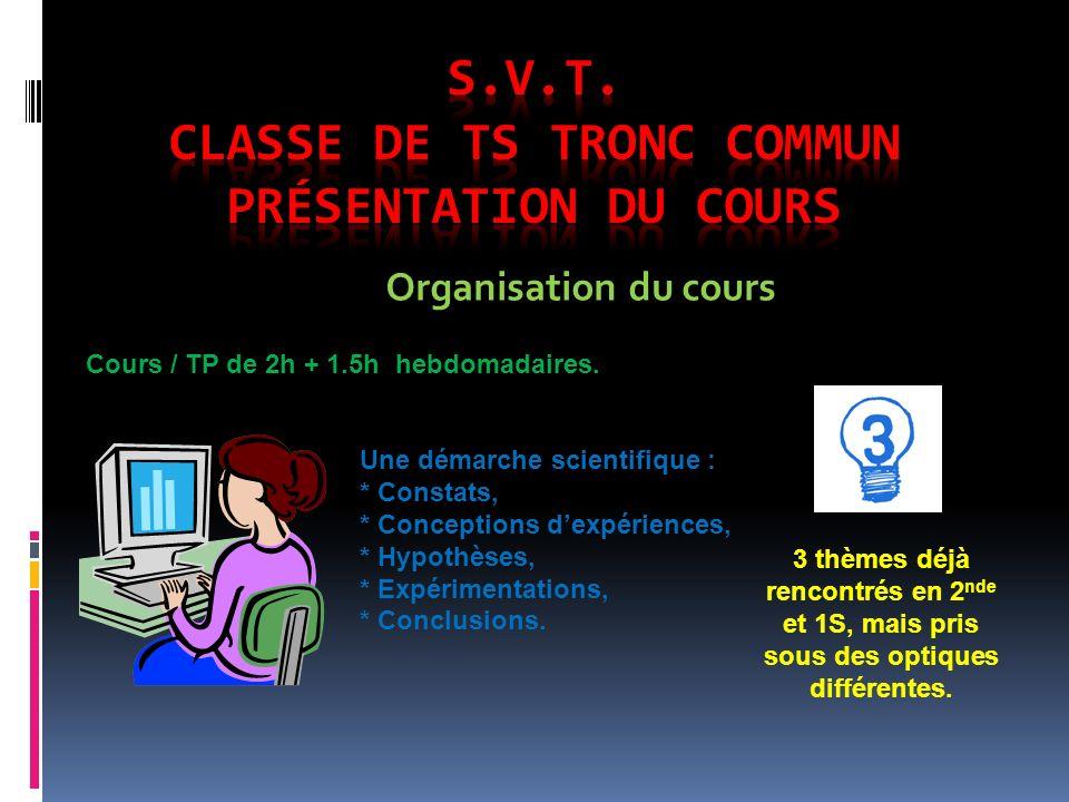 S.V.T. Classe de TS Tronc Commun Présentation du cours