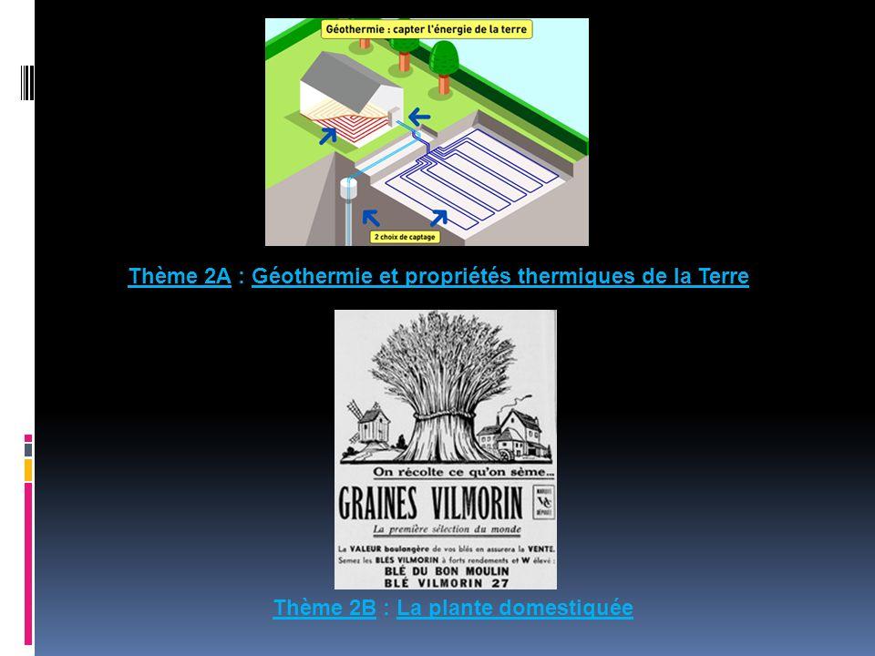 Thème 2A : Géothermie et propriétés thermiques de la Terre