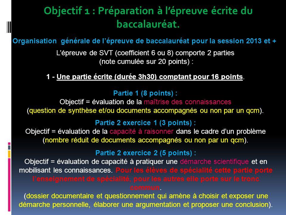 Objectif 1 : Préparation à l'épreuve écrite du baccalauréat.