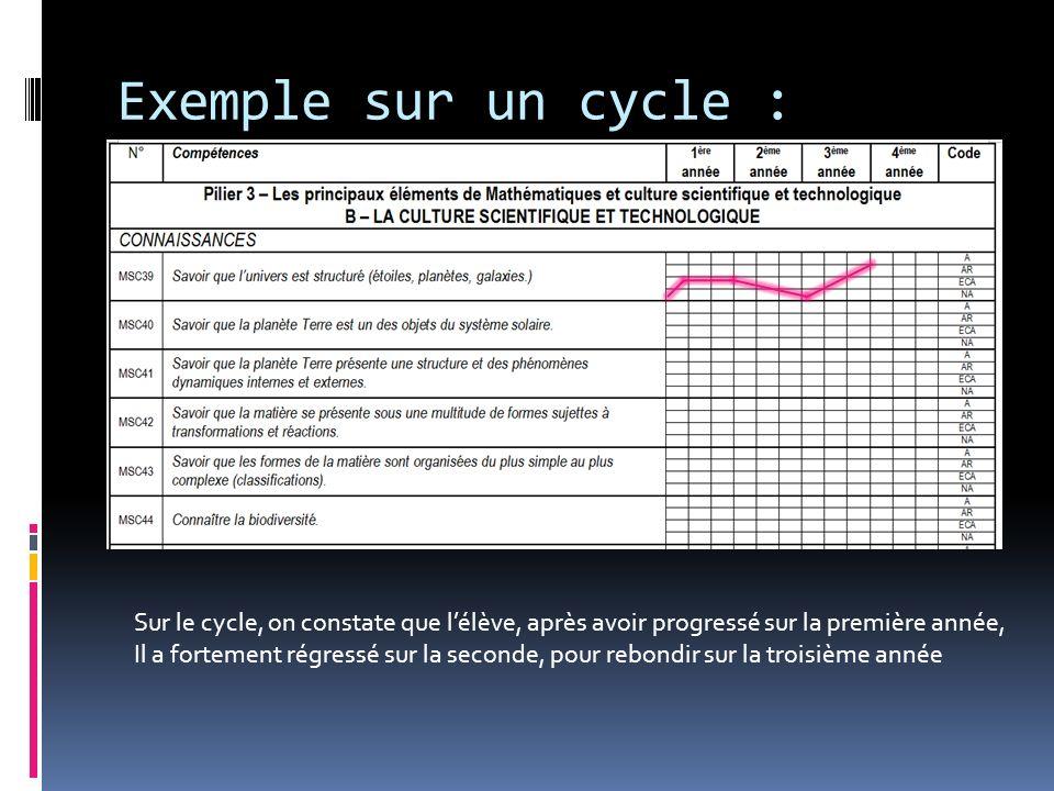 Exemple sur un cycle : Sur le cycle, on constate que l'élève, après avoir progressé sur la première année,