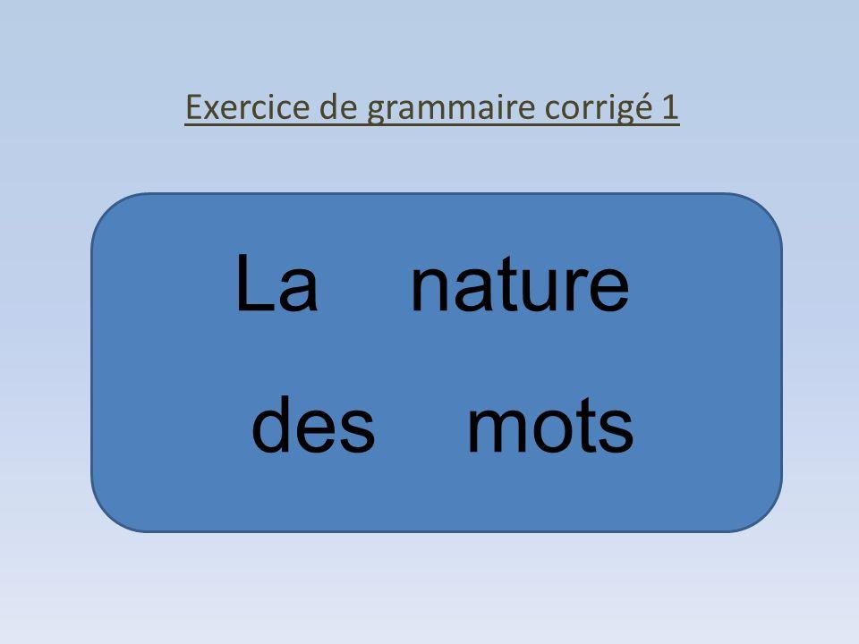 Exercice de grammaire corrigé 1