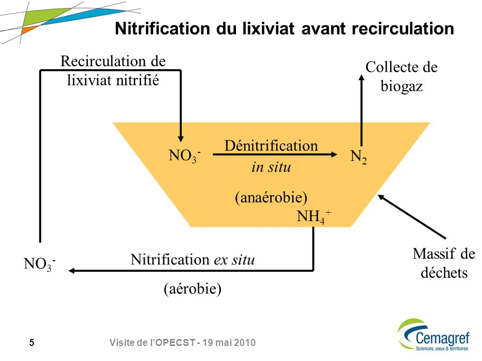 Nitrification du lixiviat avant recirculation
