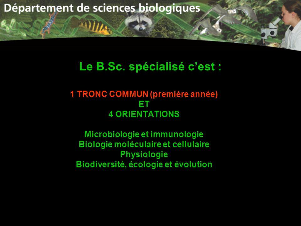 Le B.Sc. spécialisé c'est :