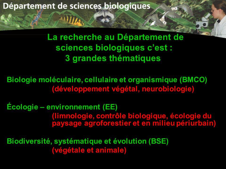 La recherche au Département de sciences biologiques c'est : 3 grandes thématiques