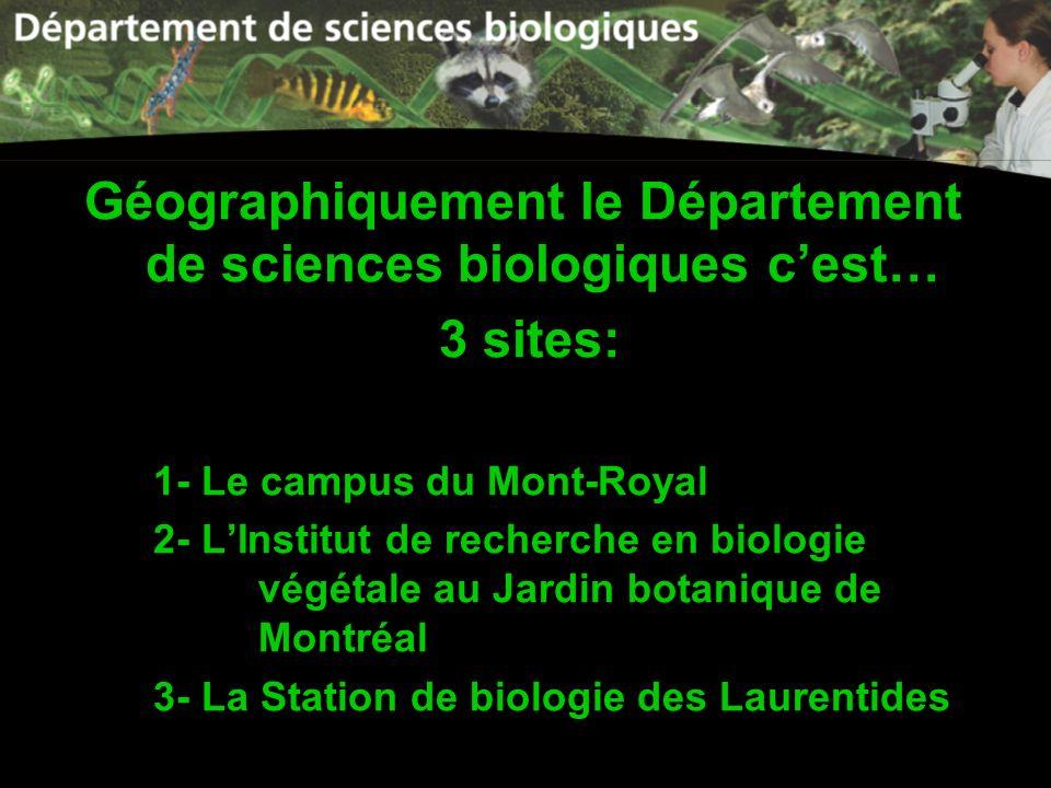 Géographiquement le Département de sciences biologiques c'est…