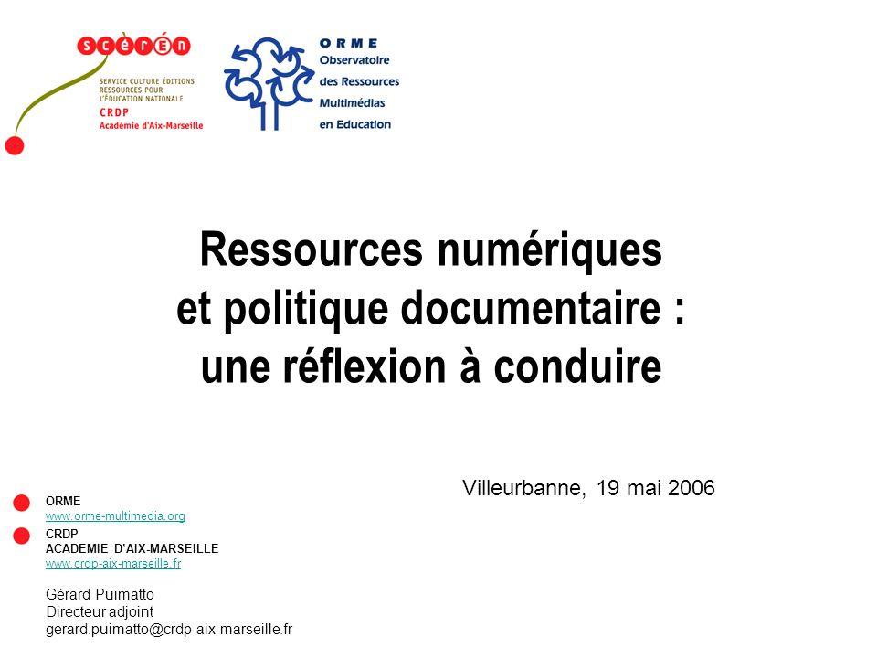 Ressources numériques et politique documentaire :