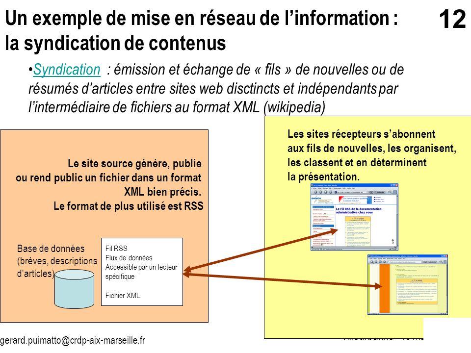 Un exemple de mise en réseau de l'information : la syndication de contenus