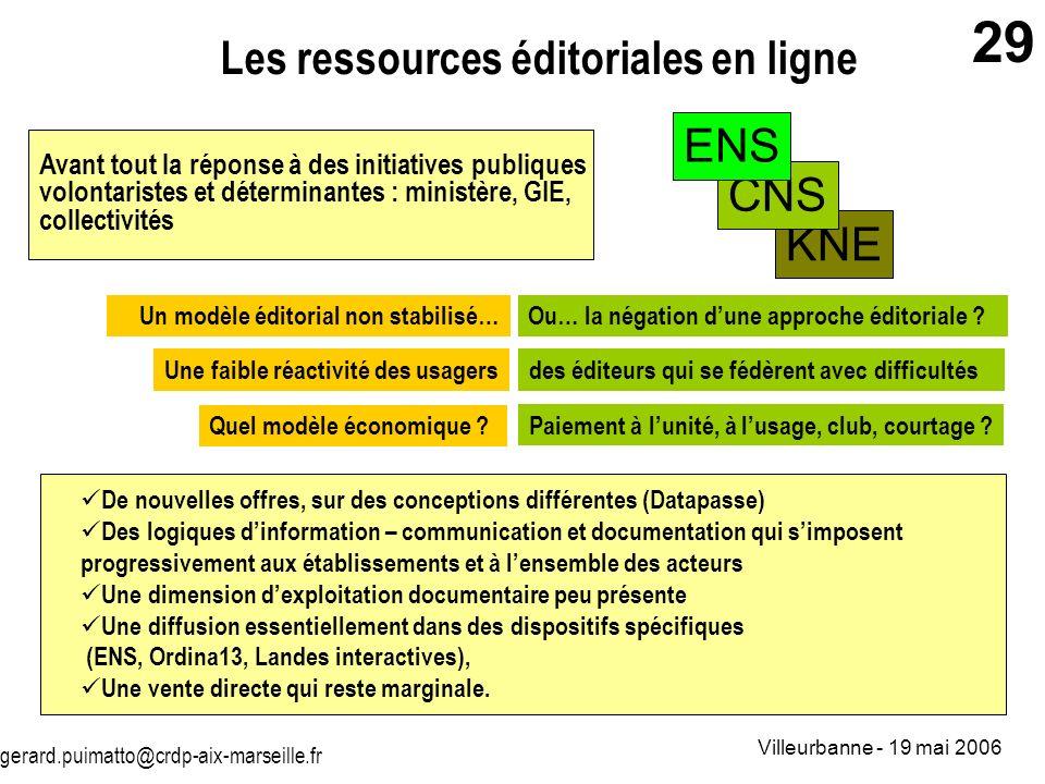 Les ressources éditoriales en ligne