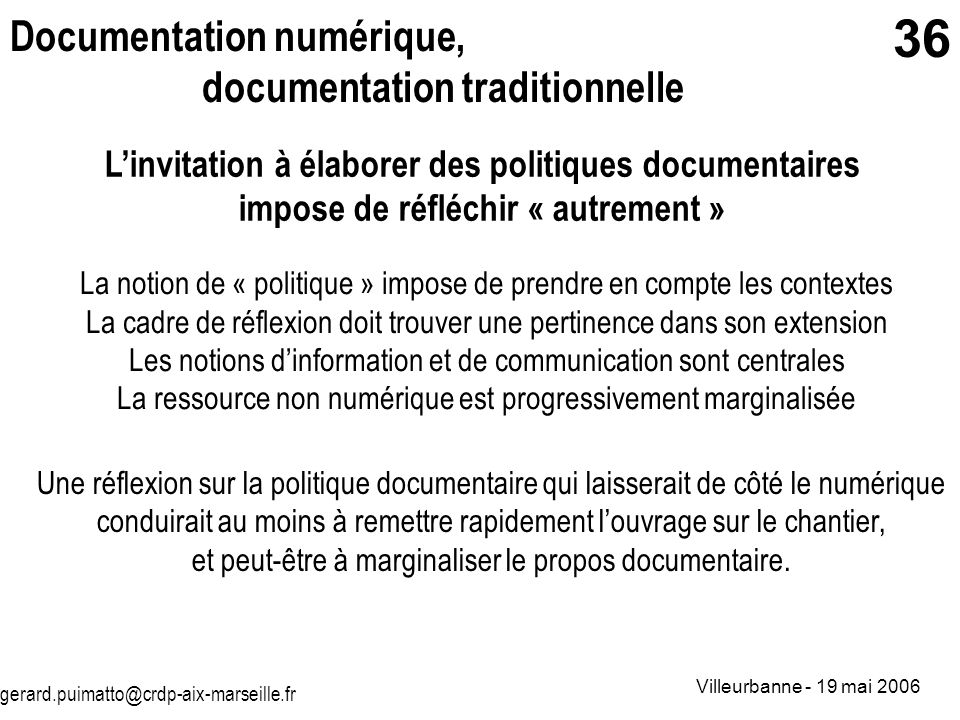 Documentation numérique, documentation traditionnelle