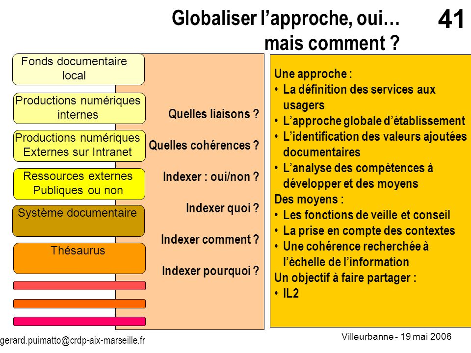 Globaliser l'approche, oui… mais comment