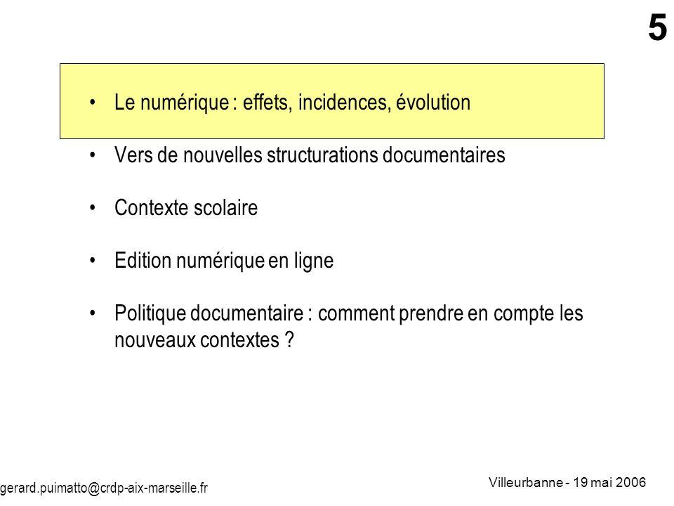 Le numérique : effets, incidences, évolution