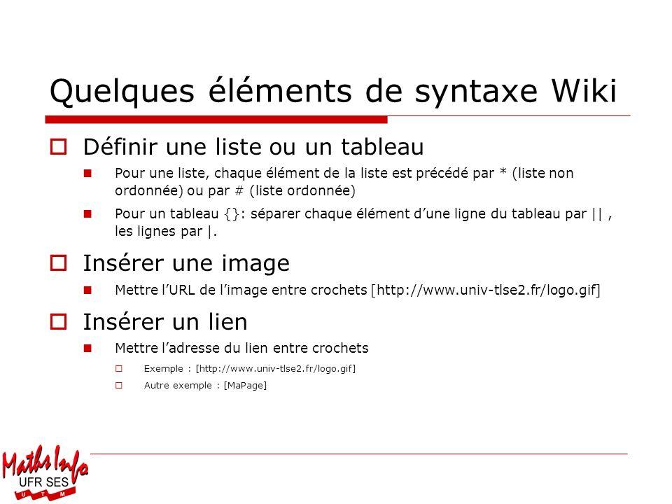 Quelques éléments de syntaxe Wiki