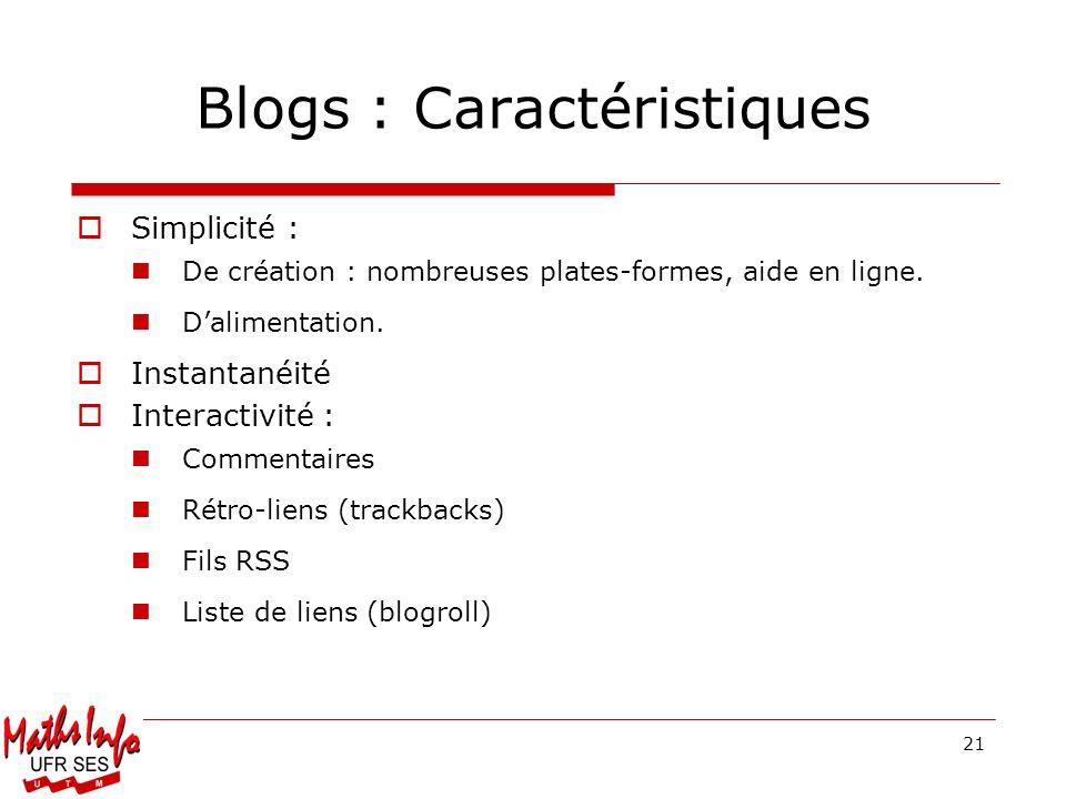 Blogs : Caractéristiques