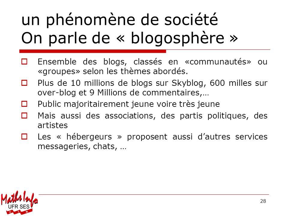 un phénomène de société On parle de « blogosphère »