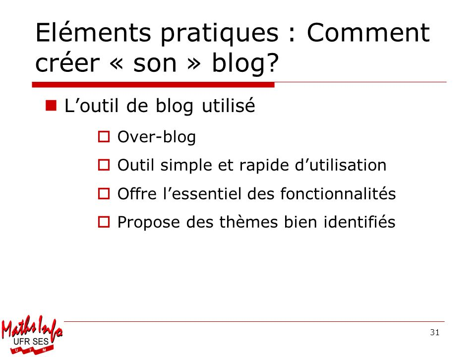 Eléments pratiques : Comment créer « son » blog