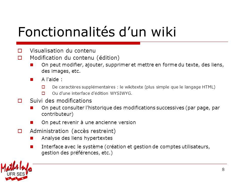 Fonctionnalités d'un wiki