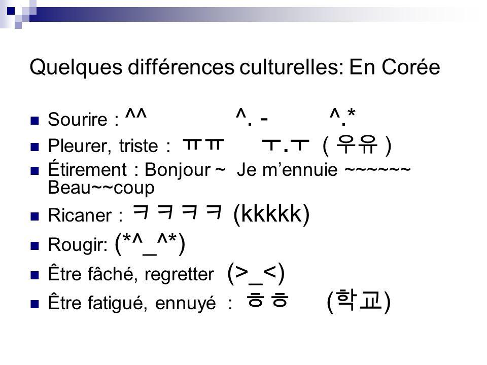 Quelques différences culturelles: En Corée