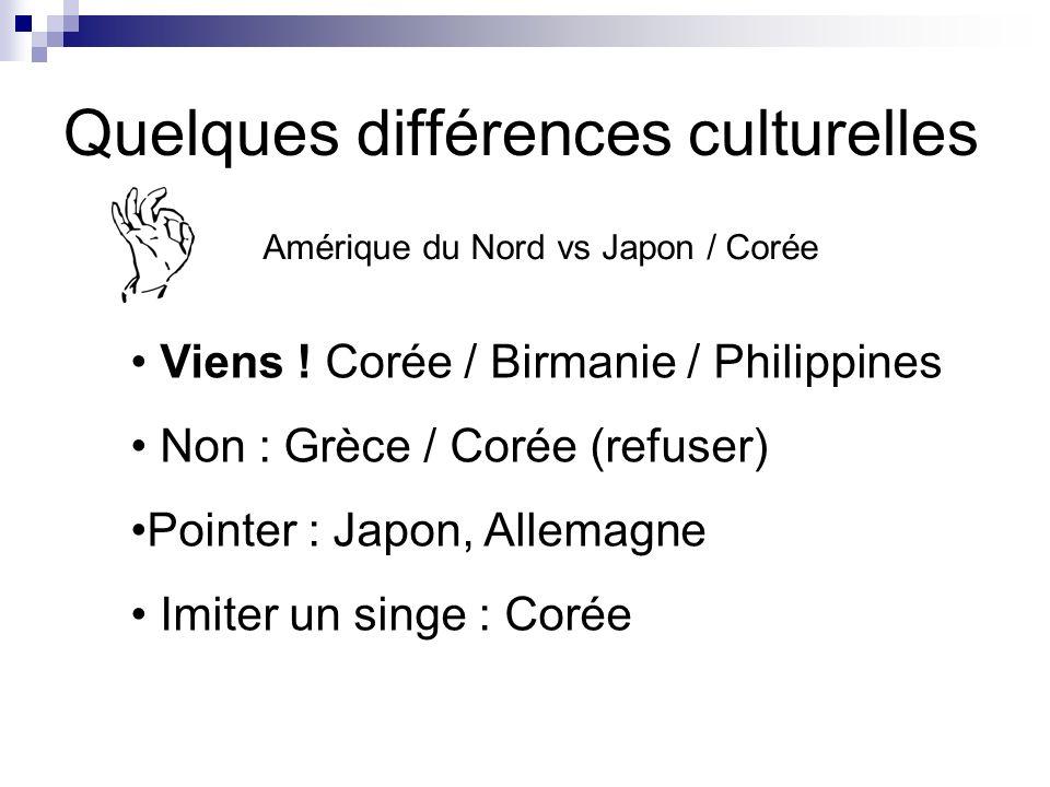 Quelques différences culturelles