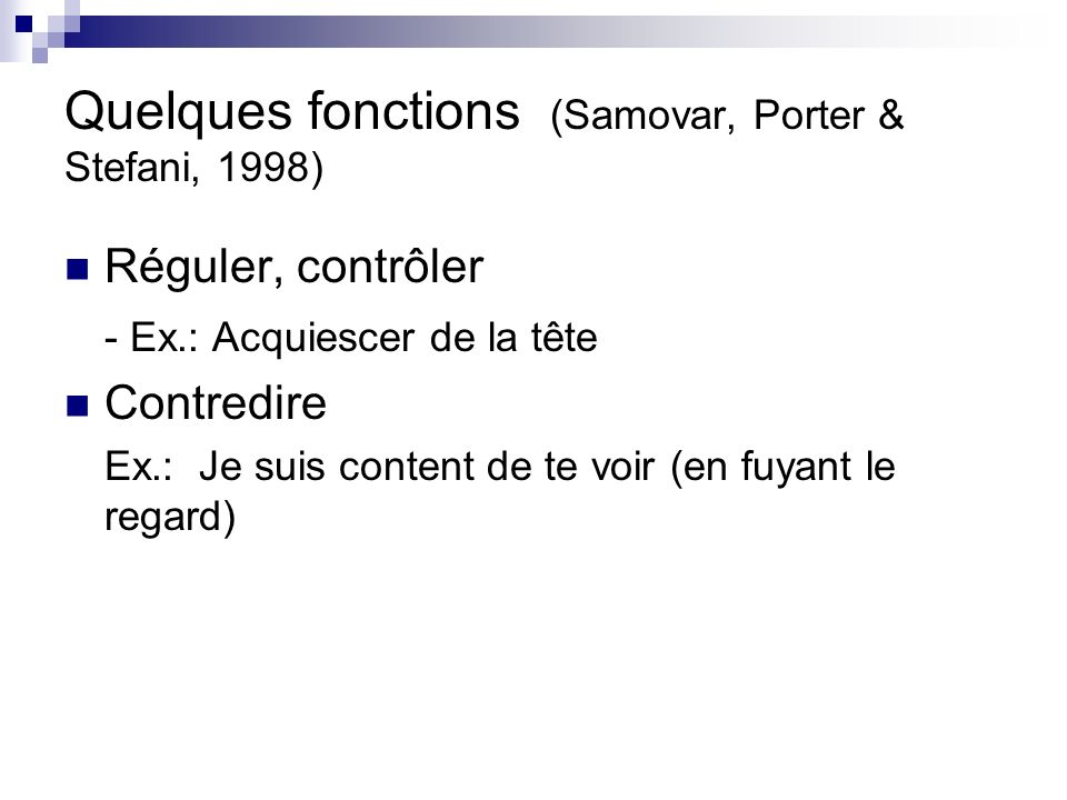 Quelques fonctions (Samovar, Porter & Stefani, 1998)