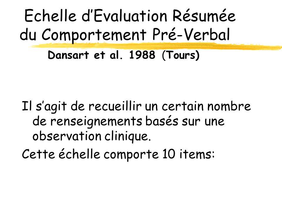 Echelle d'Evaluation Résumée du Comportement Pré-Verbal. Dansart et al