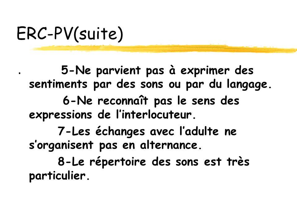ERC-PV(suite) . 5-Ne parvient pas à exprimer des sentiments par des sons ou par du langage.
