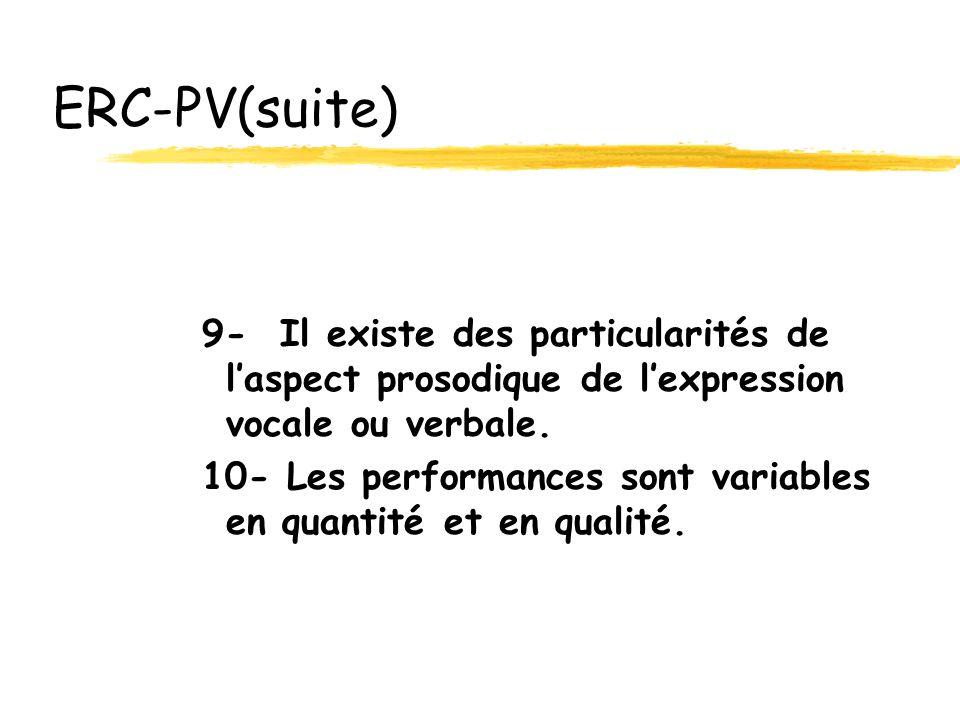 ERC-PV(suite) 9- Il existe des particularités de l'aspect prosodique de l'expression vocale ou verbale.
