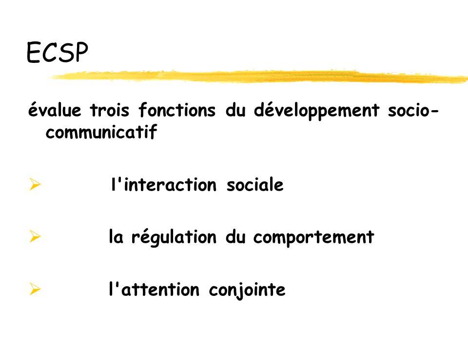ECSP évalue trois fonctions du développement socio-communicatif
